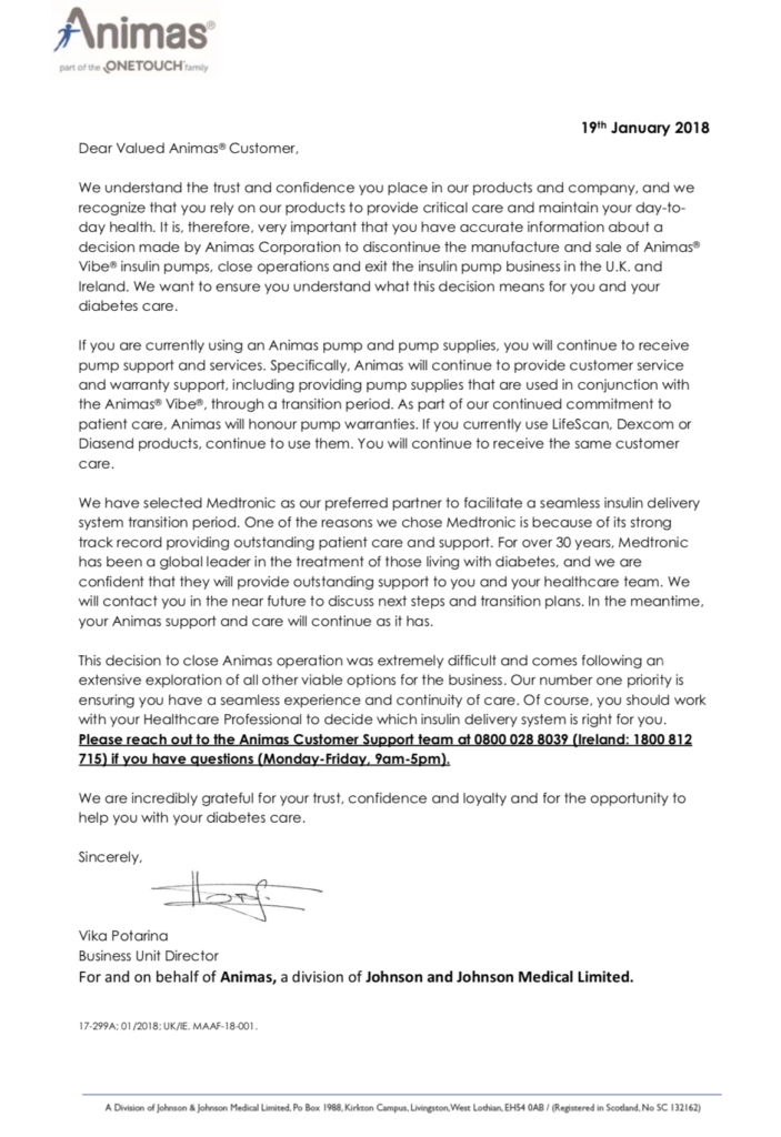 Johnson & Johnson decision to close Animas operation in UK January 2018